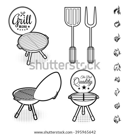 Barbecue grill vector - stock vector