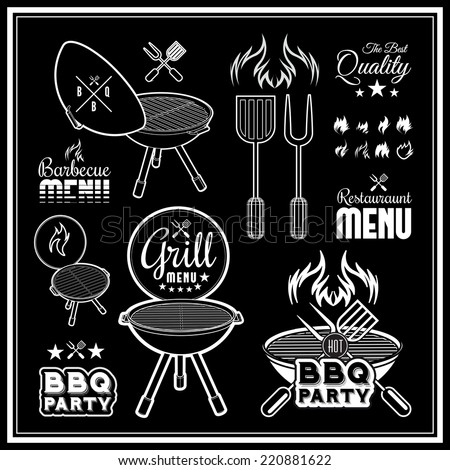 Barbecue grill vector illustration on black background stock vector