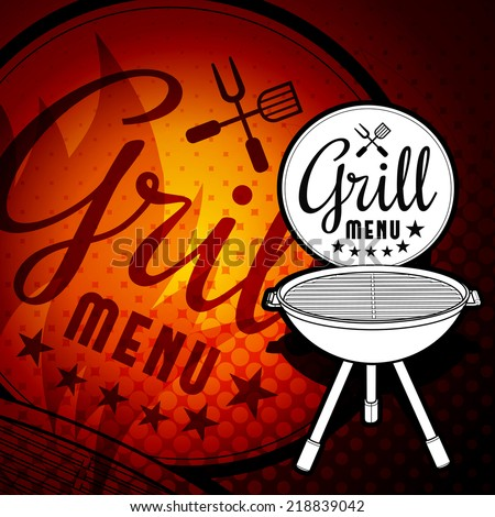 Barbecue grill vector illustration on white background - stock vector
