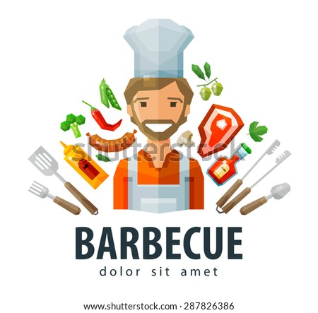 barbecue, grill vector logo design template. fresh food, chef or picnic icon. flat illustration - stock vector