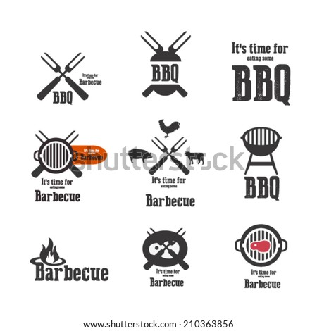 barbecue icons and elements - stock vector