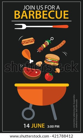 barbecue invitation party template flat design set - stock vector