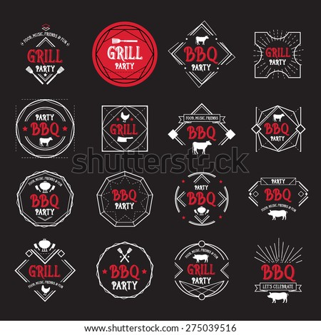 Barbecue party icon. BBQ menu design. - stock vector