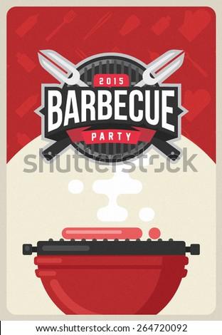 Barbecue party invitation - stock vector