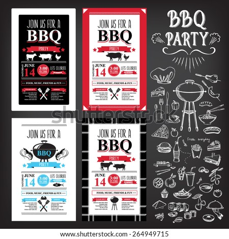 barbecue party invitation bbq template menu stock vector 264949715 shutterstock. Black Bedroom Furniture Sets. Home Design Ideas