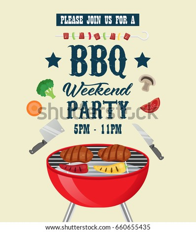 Barbecue Party Invitation Template Bbq Party Stock Photo Photo