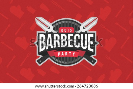 Barbecue party logo - stock vector
