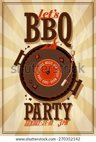 Barbecue party poster. Eps10 - stock vector