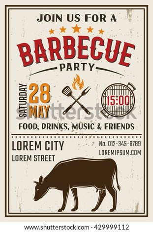 Barbecue party retro style poster with cooking tools in center on white background with spots vector illustration