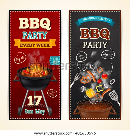 Barbecue party vertical realistic banners set with sausages and vegetables isolated vector illustration  - stock vector