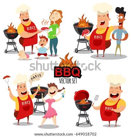 Bbq Stock Images RoyaltyFree Images Vectors Shutterstock - Backyard bbq party cartoon