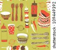 Barbecue Related Items. Seamless Pattern - stock vector