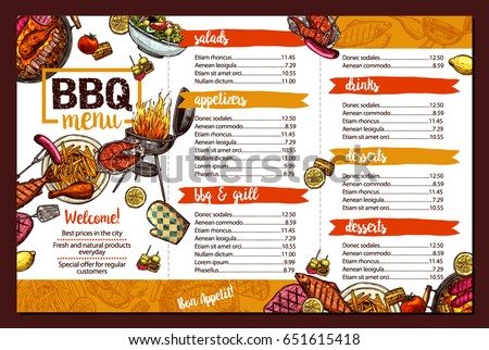 Barbecue Restaurant Menu Template Design Bbq Stock Vector