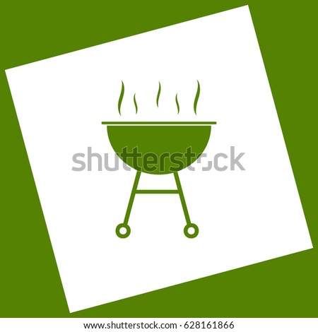 Barbecue simple sign. Vector. White icon obtained as a result of subtraction rotated square and path. Avocado background.
