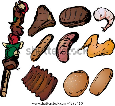 Barbecued meats with shish kebab, steak, burger, sausages, ribs, shrimp and wings. Retro hand-drawn look - stock vector