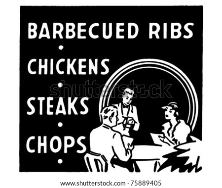 Barbecued Ribs - Retro Ad Art Banner