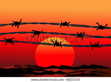 barbed wire - stock vector