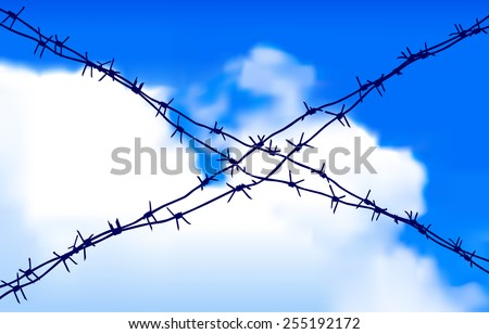 Barbed wire against the sky - stock vector