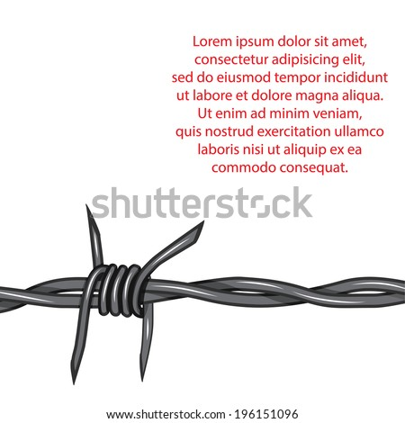 Barbed wire background. Vector fence illustration isolated on white. Protection concept design. - stock vector