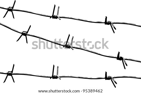 Barbed wire. Black and white pattern vector. - stock vector