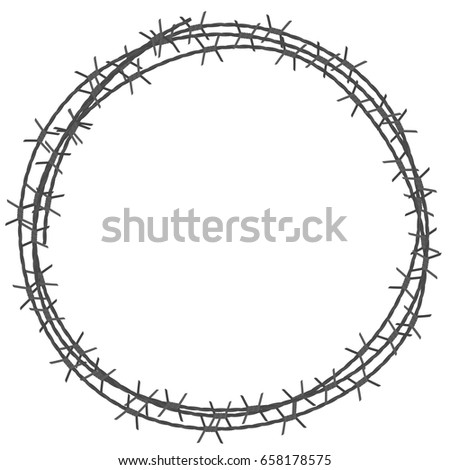 Barbed Wire Circle Border Vector Illustration Stock Vector HD ...