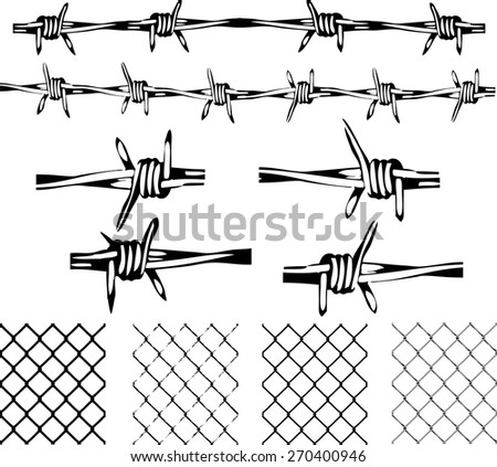 Barbed Wire Elements -  Isolated and transparent repeating vectors.  - stock vector