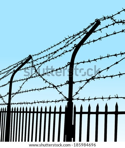 barbed wire fence - stock vector