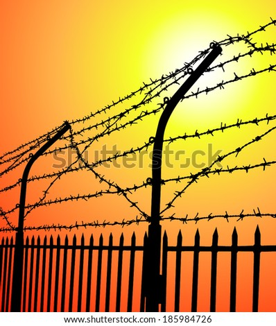 barbed wire fence at sunset - stock vector