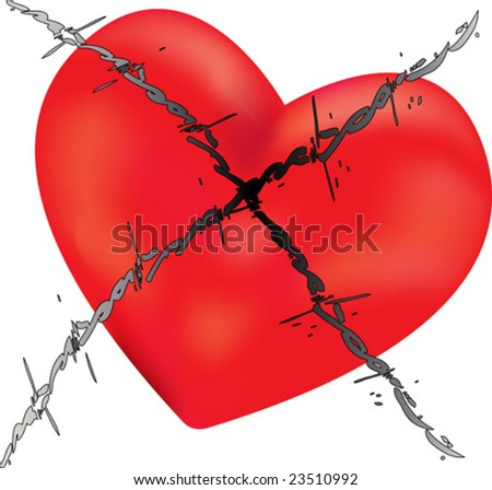Barbed Wire Love - stock vector