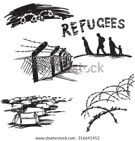Barbed wire on white background, silhouette of migrants family and word refugees in scetch style - stock vector