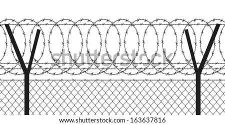 barbed wire (wired fence) - stock vector