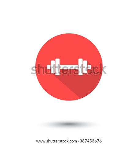 barbell icon, barbell sign, barbell pictogram, flat icon isolated on white, vector illustration