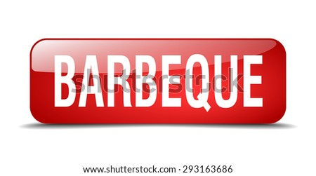 barbeque red square 3d realistic isolated web button