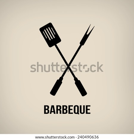 Barbeque tools in vintage style poster, vector illustration - stock vector
