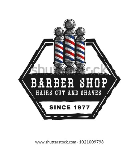 Barber Pole Vintage Barbershop Emblems Labels Badges Logos Isolated On White