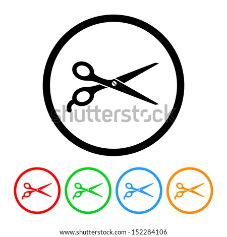 Barber's Shears Scissors Icon with Color Variations - stock vector