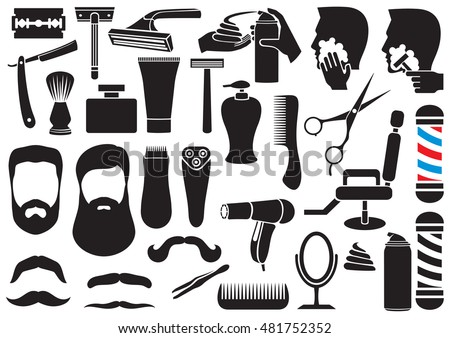 barber salon or shop vector icons set (shaving tools collection, comb, mustache, scissors, shears, haircut, razor, lotion, pole, hair dryer, chair, beard, cream)