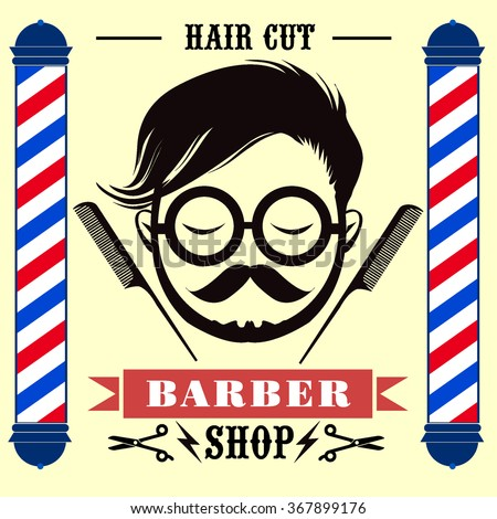 Barber Shop labels, banner, logo, hipster, Hair style with Vintage Decorative  style - stock vector