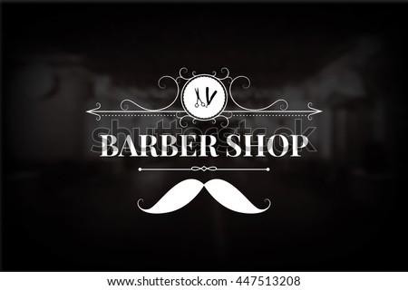 barber shop logo include vintage design stock vector 447513208