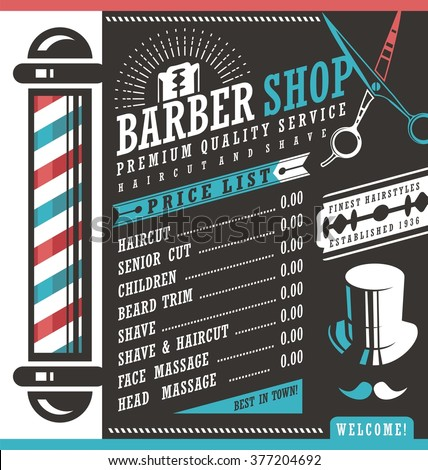 Barber Shop vector price list template. Haircut and shave retro barber sign on dark background. Gentlemen hair styles promotional banner graphic. Barber salon promotional ad or flyer layout. - stock vector