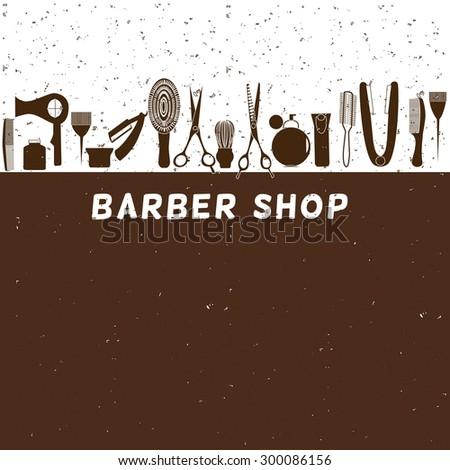 Barber shop vintage retro vector typographic design template  - stock vector