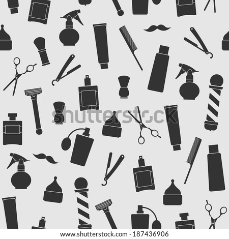 Barber shop vintage seamless background with barber tools