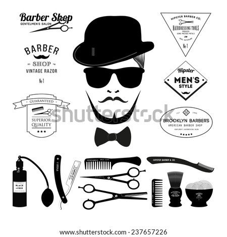 barber tools icon set - vector illustration. eps 10 - stock vector