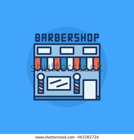 Barbershop building flat icon - vector hairdresser salon symbol. Colorful barbershop symbol on blue background