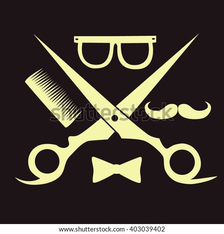 Barbershop logo, scissors, mustache comb. Barbershop (hair salon) logo vintage vector. Hipster and retro style. Perfect for your business design. - stock vector