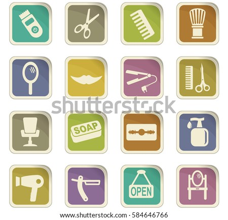 barbershop vector icons for user interface design