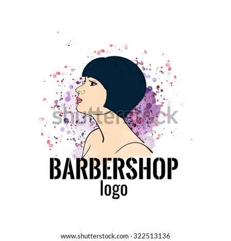Barbershop watercolor logo. The girl with a bob haircut on watercolor background. Stock vector. - stock vector