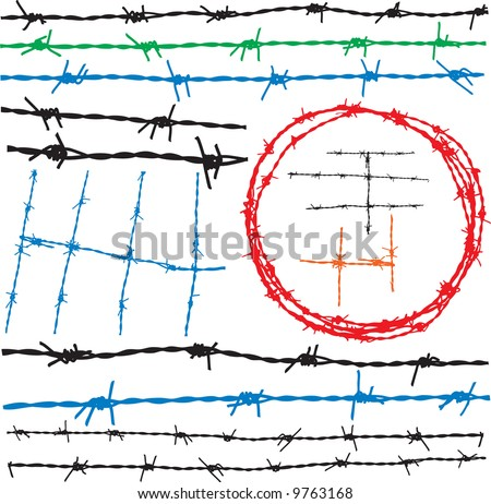 Barbwire elements - stock vector