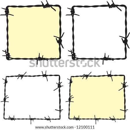 Barbwire frame 1 - stock vector