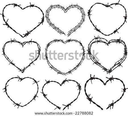 Barbwire heart - stock vector